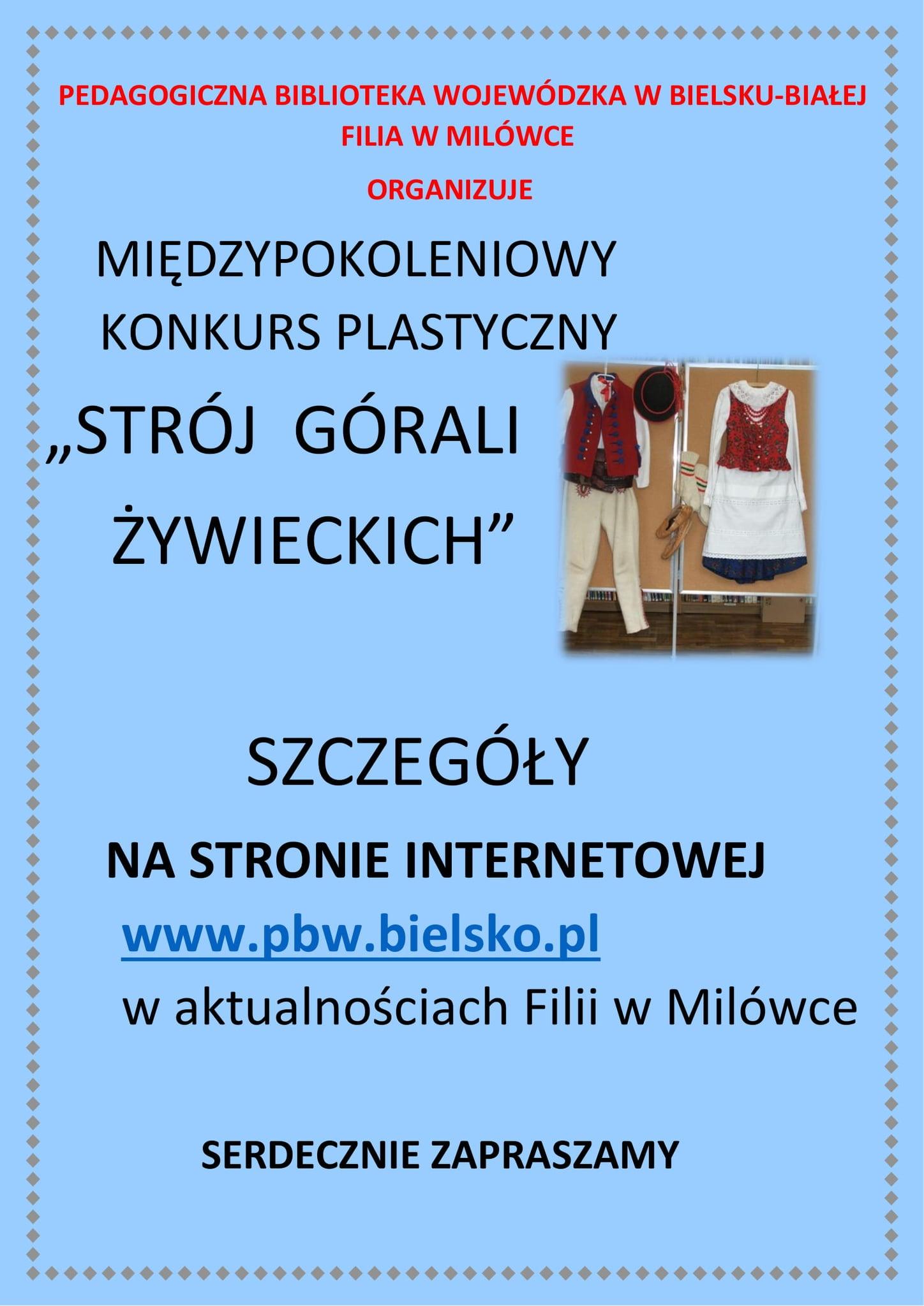 """Konkurs plastyczny pt. """"Strój Górali Żywieckich"""""""