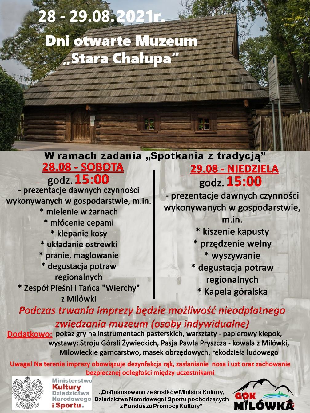 """Dni otwarte Muzeum """"Stara Chałupa"""" – 28-29.08"""